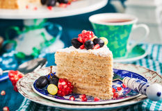 Piece of homemade  honey cake decorated with fresh fruits Stock Photos