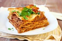 Piece of homemade lasagna Stock Image
