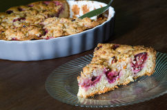 Piece of homemade plum cake Royalty Free Stock Photo