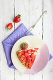 Piece of homemade strawberry pie Stock Photography