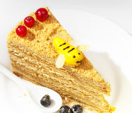 Piece of the honey cake Stock Photography