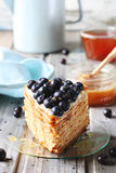 Piece of honey cake decorated with blueberry Stock Images