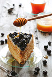 Piece of honey cake decorated with blueberry Stock Photos