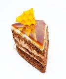 Piece of honey cake isolated on a white Stock Photo