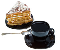 Piece of honey cake and tea cup Royalty Free Stock Image