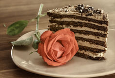 Piece of honey cake Royalty Free Stock Photography