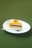 Piece of Honey, Sea-buckthorn and Apricot Yellow Entremet Cake Stock Photos