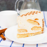 Piece Italian Cake (dessert) tiramisu on a white plate. Cinnamon Royalty Free Stock Photos