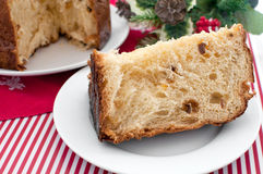 Piece of italian christmas cake panettone Royalty Free Stock Images