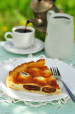 A piece of Italian date and mascarpone tart Stock Photo
