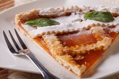 Piece of Italian tart with apricot jam on the plate Royalty Free Stock Photos