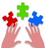 3 piece jigsaw Royalty Free Stock Photo