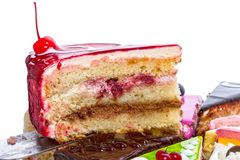 Piece of juicy cake with cherries Royalty Free Stock Image