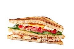 Piece of juicy club sandwich on white background royalty free stock photos
