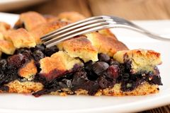 Piece of juicy homemade lattice pie with whole wild blueberries Royalty Free Stock Photos