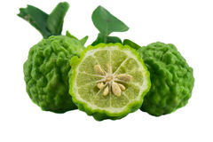 Piece kaffir lime isolated. On white background Stock Photo