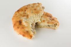 Piece of khachapuri with meat Royalty Free Stock Image
