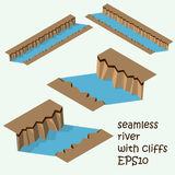 Piece of land with cliff and river. Piece of  land with seamless cliff and river.  Part of the map. Isometric Royalty Free Stock Photos