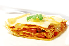 Piece of lasagne. Lasagne with vegetables on a white plate, garnished with salvia leaves Stock Images