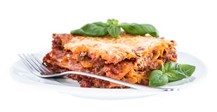 Piece of Lasagne isolated on white Royalty Free Stock Image