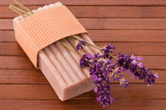 Piece of lavender soap Royalty Free Stock Photos