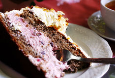 Piece of layer-cake. With fork on a plate stock photography