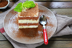 Piece of layer cake closeup Royalty Free Stock Photo
