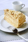 Piece of layer cake with custard and walnuts. On a plate Stock Photo