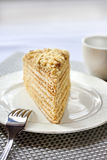 Piece of layer cake with custard and walnuts. On a plate. Selective focus Stock Photos