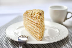 Piece of layer cake with custard and walnuts. On a plate. Selective focus Royalty Free Stock Image