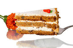 Piece of layer cake and flower Royalty Free Stock Photo