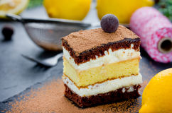 Piece of layer chocolate truffle lemon cake. Delicious sponge ca. Ke with cream on holiday Royalty Free Stock Photography