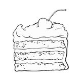 Piece of layered cake with vanilla cream and cherry decoration. Black and white hand drawn piece of classic layered cake with vanilla cream and cherry decoration Stock Photography