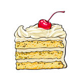 Piece of layered cake with vanilla cream and cherry decoration. Hand drawn piece of classic layered cake with vanilla cream and cherry decoration, sketch style Royalty Free Stock Images