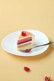 Piece of Layered Vanilla, Raspberry, Peach Mousse Cake, Royalty Free Stock Photo