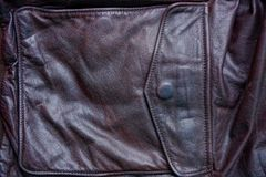 Piece of leather clothes with a closed pocket Stock Images