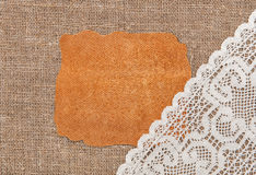 Piece of leather and lacy cloth the burlap Stock Photography