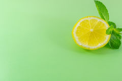 Piece of lemon and mint Stock Image