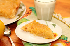 Piece of lemon pie. On a white plate stock images