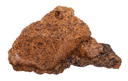 Piece of limonite  brown iron ore isolated Stock Images