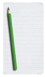 Piece of lined paper and pencil on white. Piece of lined paper and pencil isolated on pure white background Stock Photography