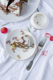 Piece of liver cake on a plate from above Royalty Free Stock Photo
