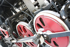 Piece a locomotive. Fragment of an old steam locomotive wheels Royalty Free Stock Images