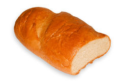 Piece long loaf. Piece long loaf closeup isolated on a white background Stock Image