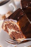 Piece of marble cake with chocolate macro on a plate. vertical Stock Photography