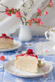 Piece of mascarpone crepe cake. With berry sauce Royalty Free Stock Image