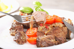 Piece of meat and food. Background Stock Photo