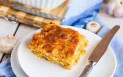 Piece of meat lasagna with mushrooms, Italian cuisine Stock Images