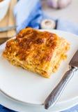 Piece of meat lasagna with mushrooms, Italian cuisine Stock Photography