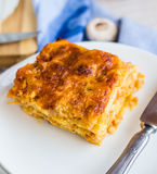 Piece of meat lasagna with mushrooms, Italian cuisine Royalty Free Stock Image